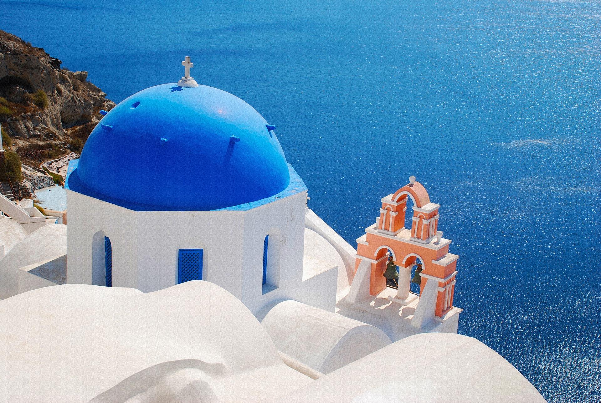 panorama dal villaggio di Oia nelle cicladi in Grecia